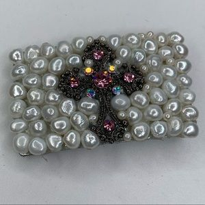 Pearl and Crystal Cross Belt Buckle